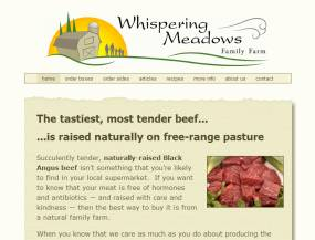 Website design for Whispering Meadows